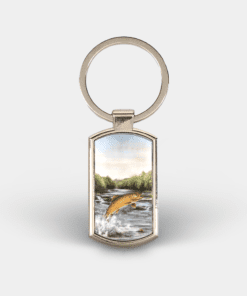 Country Images Custom Customised Customise Personalise Personalised Lozenge Metal Keyring Highland Collection Leaping Brown Trout Gift Gifts 1