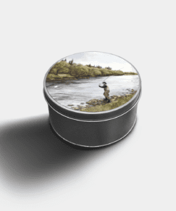 Country Images Custom Customised Personalised Round Tin Printed Gift Gifts Idea Biscuit Sweets Container Tins Fly Fishing Angling Angler Gift Gifts Idea Ideas