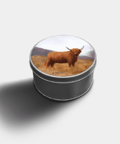 Country Images Custom Customised Personalised Round Tin Printed Gift Gifts Idea Biscuit Sweets Container Tins Highland Collection Cow Hairy Coo