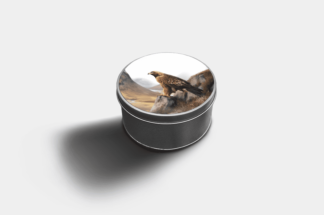 Country Images Custom Customised Personalised Round Tin Printed Gift Gifts Idea Biscuit Sweets Container Tins Highland Collection Golden Eagle Bird Birds of Prey