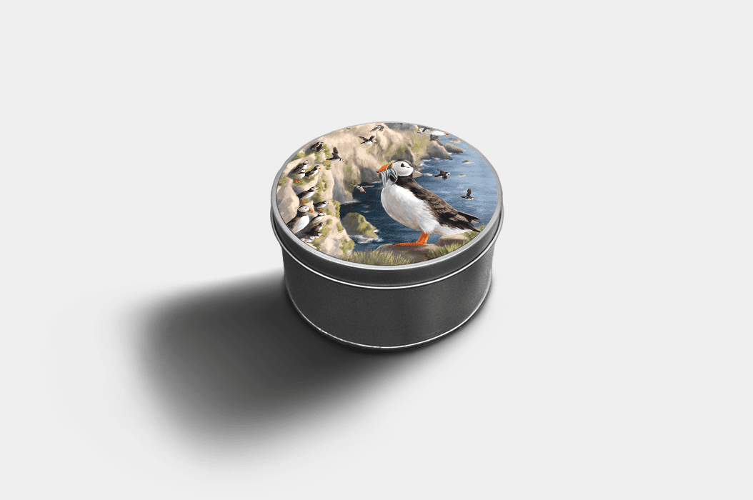 Country Images Custom Customised Personalised Round Tin Printed Gift Gifts Idea Biscuit Sweets Container Tins Highland Collection Puffin Puffins Pufflings