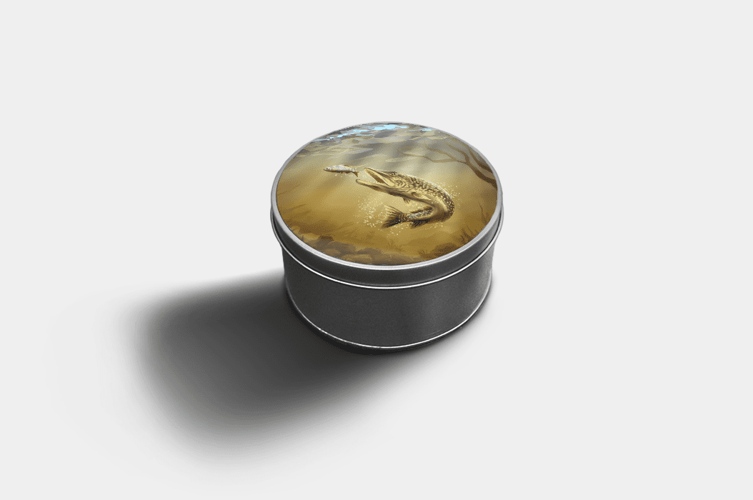 Country Images Custom Customised Personalised Round Tin Printed Gift Gifts Idea Biscuit Sweets Container Tins Pike Fishing Angling Angler Gift Gifts Idea Ideas