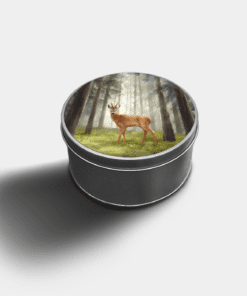 Country Images Custom Customised Personalised Round Tin Printed Gift Gifts Idea Biscuit Sweets Tins Highland Roebuck Roebucks Roe Buck
