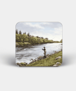 Country Images Personalised Custom Board Coaster Coasters Scotland Highland Collection Fly Fishing Angling Fishing Gift Gifts