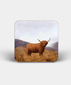 Country Images Personalised Custom Board Coaster Coasters Scotland Highland Collection Highland Cow Hairy Coo Gift Gifts