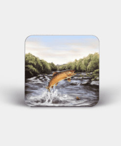 Country Images Personalised Custom Board Coaster Coasters Scotland Highland Collection Leaping Brown Trout Angling Fishing Gift Gifts 3