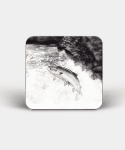 Country Images Personalised Custom Board Coaster Coasters Scotland Highland Collection Leaping Salmon Fish Angler Angling Fishing Gift Gifts