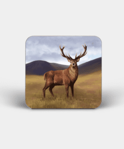 Country Images Personalised Custom Board Coaster Coasters Scotland Highland Collection Red Deer Stag Buck Highlands Animals Gift Gifts