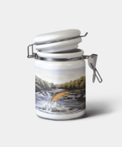 Country Images Personalised Custom Ceramic Hinged Storage Jar Container Highland Collection Brown Trout Fishing Angler Gifts