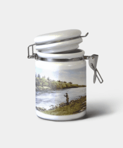 Country Images Personalised Custom Ceramic Hinged Storage Jars Highland Collection Fly Fishing Angler Angling Gifts