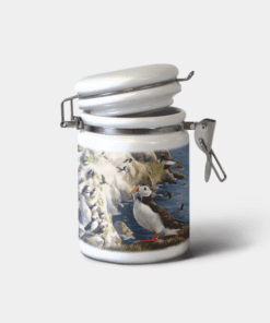 Country Images Personalised Custom Ceramic Hinged Storage Jars Highland Collection Puffin Puffins Gifts