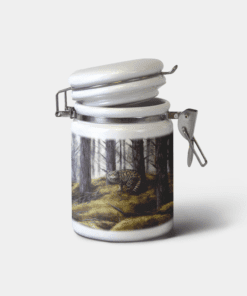 Country Images Personalised Custom Ceramic Hinged Storage Jars Highland Collection Wildcat Wild Cat Gifts