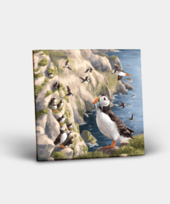 Country Images Personalised Custom Ceramic Tile Tiles Scotland Highland Collection Puffin Puffins Sea Birds Nature Wildlife Gift Gifts