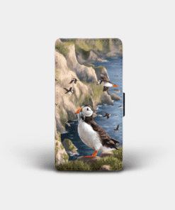 Country Images Personalised Custom Customised Flip Phone Cover Case Scotland Scottish Highlands Puffin Puffins Pufflings Gift Gifts
