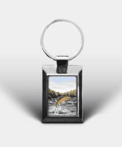 Country Images Personalised Custom Customised Rectangular Metal Keyring Keyrings Scotland Highland Brown Trout Angling Fishing Gift Gifts 3