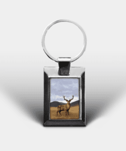 Country Images Personalised Custom Customised Rectangular Metal Keyring Keyrings Scotland Highland Stag Stags Deer Buck Gift Gifts 3