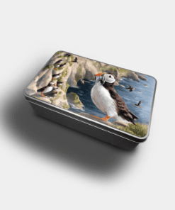 Country Images Personalised Custom Customised Rectangular Tin Tins Scotland Scottish Highland Highlands Biscuit Sweet Puffin Puffins Pufflings