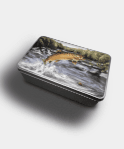 Country Images Personalised Custom Customised Rectangular Tin Tins Scotland Scottish Highlands Biscuit Sweet Brown Trout Fishing Gift Gifts Angling 2