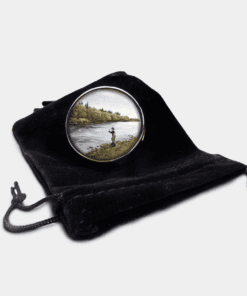 Country Images Personalised Custom Round Metal Pill Boxes Box Scotland Highlands Fly Fishing Angling Angler Gift Gifts