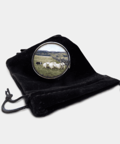 Country Images Personalised Custom Round Metal Pill Boxes Box Scotland Highlands Sheep Sheepdog Sheepdogs Crofter Crofting Farming Gift Gifts