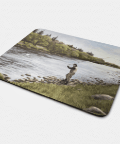 Country Images Personalised Fabric Custom Customised Mousemat Cheap Scotland UK Fly Fishing Fish Angler Angling Gift Gifts Ideas