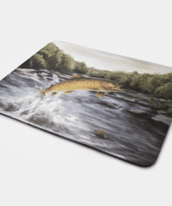 Country Images Personalised Fabric Custom Customised Mousemat Cheap Scotland UK Highland Collection Leaping Brown Trout 3