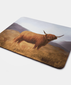 Country Images Personalised Fabric Custom Customised Mousemat Cheap Scotland UK Highland Cow Hairy Coo Gift Gifts Ideas