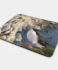 Country Images Personalised Fabric Custom Customised Mousemat Cheap Scotland UK Puffin Puffins Seabirds Seabird Coastal Bird Birds Gift Gifts Ideas