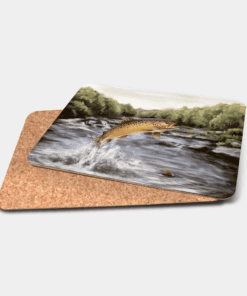 Country Images Personalised Printed Custom Placemats Tablemats Cheap Highland Collection Leaping Brown Trout Scotland Scottish Gift Gifts Ideas Tableware (Cork)
