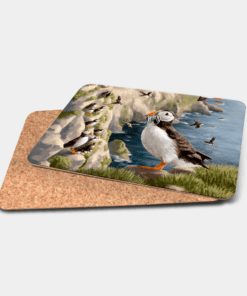 Country Images Personalised Printed Custom Placemats Tablemats Cheap Highland Collection Puffin Puffins Scotland Scottish Gift Gifts Ideas Tableware (Cork)
