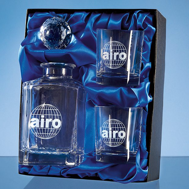 Satin-Lined Presentation Box - Decanter with 2 x Strauss Whiskies