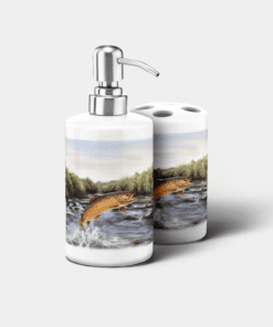 Country Images Personalised Custom Ceramic Bathroom Toothbrush Holder Soap Dispenser Set Highland Collection Brown Trout Fishing Angler Gifts