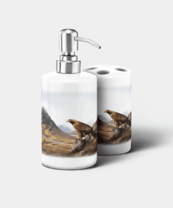 Country Images Personalised Custom Ceramic Bathroom Toothbrush Holder Soap Dispenser Set Highland Collection Golden Eagle Bird of Prey Gifts