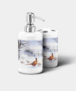 Country Images Personalised Custom Ceramic Bathroom Toothbrush Holder Soap Dispenser Set Highland Collection Pheasant Pheasants Gifts