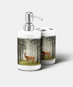 Country Images Personalised Custom Ceramic Bathroom Toothbrush Holder Soap Dispenser Set Highland Collection Roebuck Deer Roe Buck Gifts