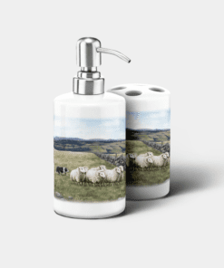 Country Images Personalised Custom Ceramic Bathroom Toothbrush Holder Soap Dispenser Set Highland Collection Sheep and Sheepdog Dog Crofting Croft Gifts