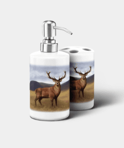 Country Images Personalised Custom Ceramic Bathroom Toothbrush Holder Soap Dispenser Set Highland Collection Stag Gifts