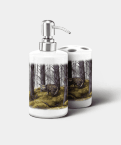 Country Images Personalised Custom Ceramic Bathroom Toothbrush Holder Soap Dispenser Set Highland Collection Wild Cat Wildcat Gifts