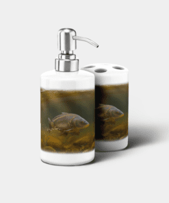 Country Images Personalised Custom Ceramic Bathroom Toothbrush Holder Soap Dispenser Set Sports Sporting Fishing Angling Mirror Carp Gift Gifts
