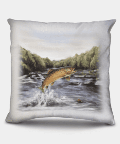 Country Images Personalised Highland Collection Scottish Brown Trout Cheap Linen Cushion Scotland UK 3