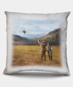 Country Images Personalised Sporting Clay Pigeon Shooting Hunting Cheap Linen Cushion Scotland UK 2