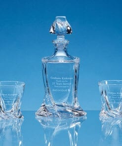 Satin-Lined Presentation Box - Personalised Engraved Twisted Decanter with 2 x Twisted Whiskies