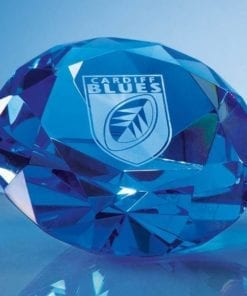 """Engraved Blue """"Diamond"""" Paperweight"""