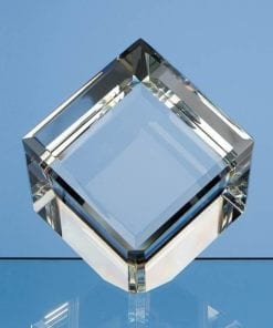 8cm Optical Crystal Bevel Edged Cube Award Paperweight Engraved Gifts Country Images Scotland Personalised Custom Scottish