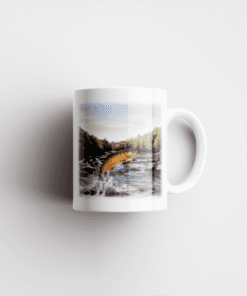 Country Images Ceramic Mug Personalised Printed Highland Collection Fishing Leaping Brown Trout Scotland Design Cheap - 2