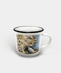 Country Images Personalised Custom Printed White Black Mug Scotland Cheap Highland Collection Puffin Puffins Seabird Seabirds Sea Pufflings Birds Wildlife Gift Gifts