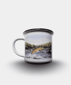 Country Images Personalised Custom Printed White Black Mug Scotland Cheap Highland Collection Leaping Brown Trout Fishing Angling Angler Gift Gifts 2