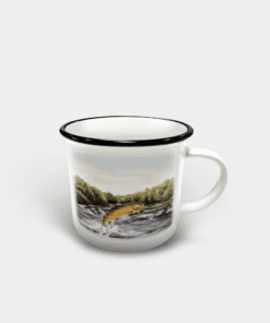Country Images Personalised Custom Printed White Black Mug Scotland Cheap Highland Collection Leaping Brown Trout Fishing Angling Angler Gift Gifts