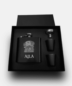 Country Images Personalised Black Custom Engraved Hipflask Hip Flask Flasks Cheap Scotland UK Box Set Boxed Dog Gift 2