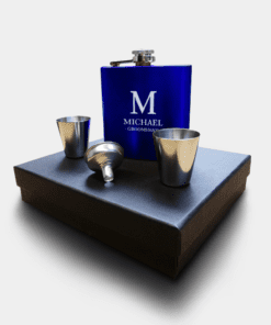 Country Images Personalised Blue Custom Engraved Hipflask Hip Flask Flasks Cheap Scotland UK Box Set On Box Groomsman Gift